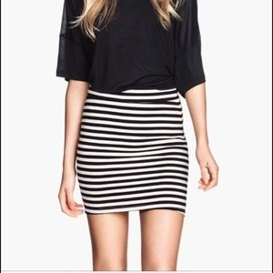 H&M | Black and White Striped Bodycon Skirt